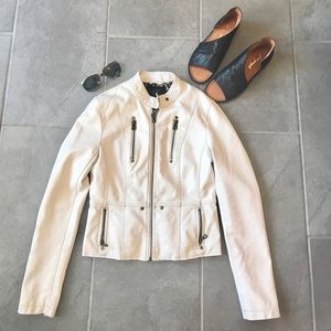 White faux leather Moto jacket size Small